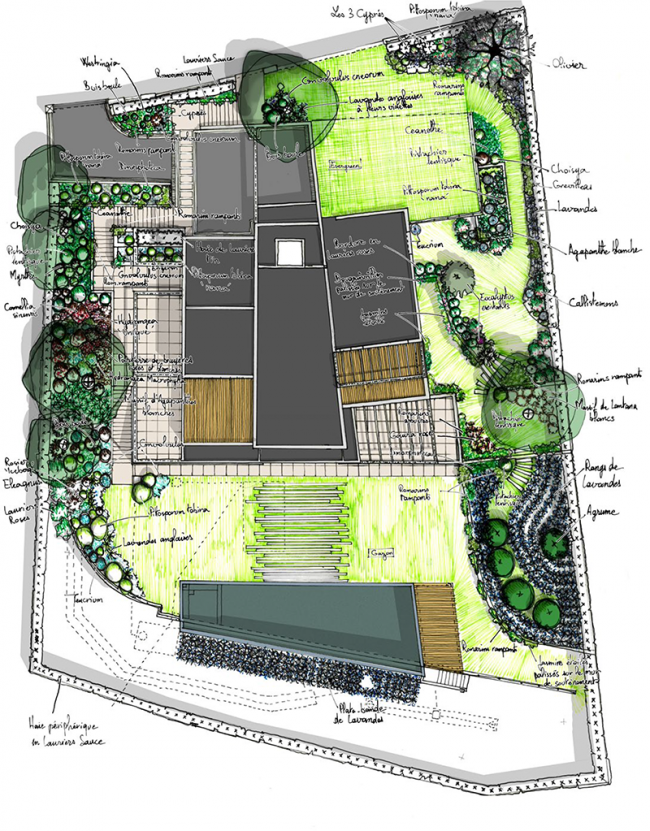 face la mer un jardin autour d une villa contemporaine atelier quercus architecture et. Black Bedroom Furniture Sets. Home Design Ideas